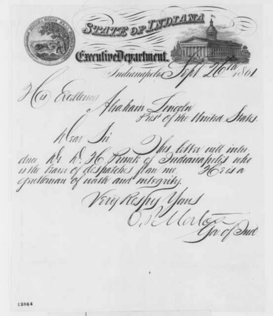 Oliver P. Morton to Abraham Lincoln, Thursday, September 26, 1861  (Introduction)