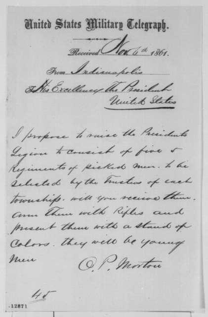 Oliver P. Morton to Abraham Lincoln, Wednesday, November 06, 1861  (Telegram regarding military preparations)