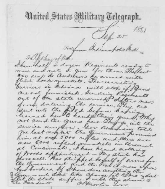 Oliver P. Morton to Thomas A. Scott, Wednesday, September 25, 1861  (Telegram requesting arms)