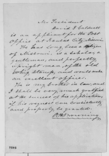 Orville H. Browning to Abraham Lincoln, February 1861  (Recommends brother-in-law for position)