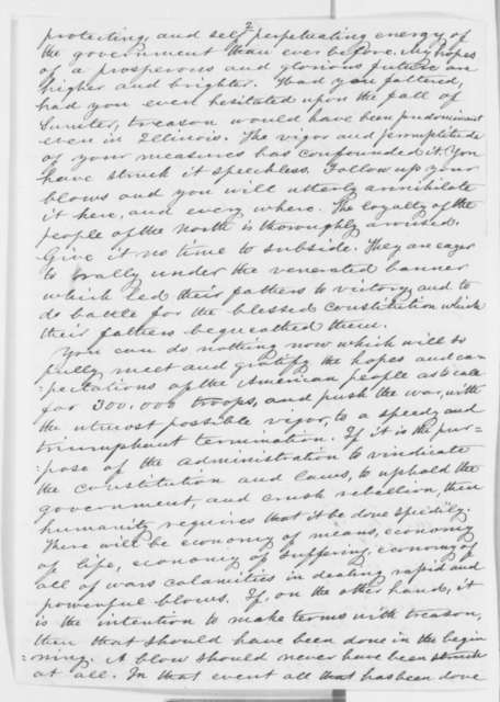 Orville H. Browning to Abraham Lincoln, Tuesday, April 30, 1861  (Political and military affairs)