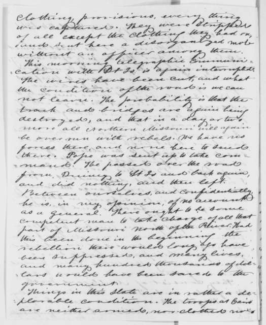 Orville H. Browning to Abraham Lincoln, Tuesday, September 24, 1861  (Mismanagement of military affairs in the West)