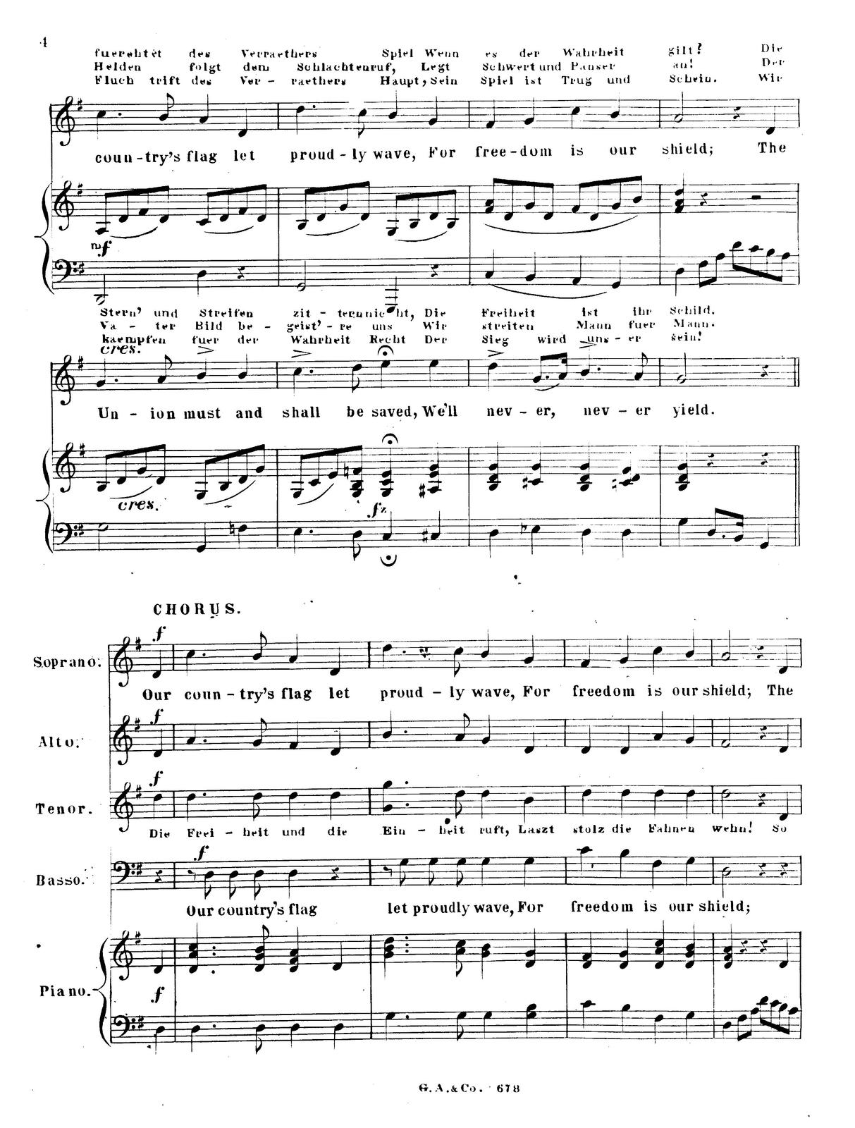 Our country's flag: song composed and dedicated to his excellency Abraham Lincoln, president of the United States by G. Gumpert; [arranged for the piano by F. Lossé].