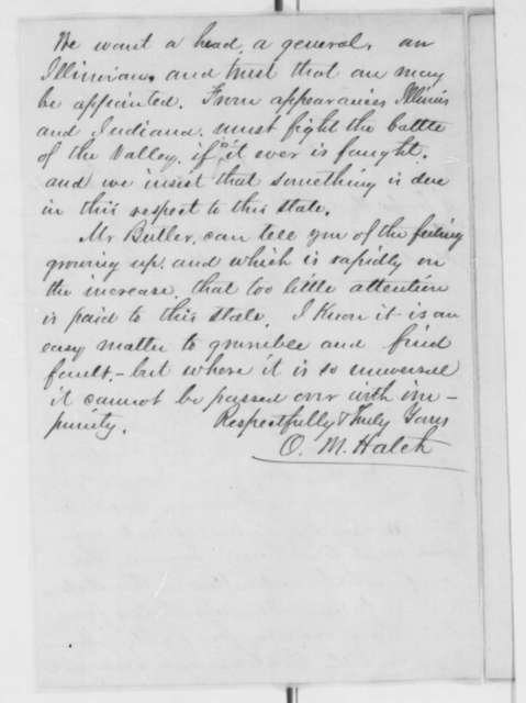 Ozias M. Hatch to Abraham Lincoln, Saturday, August 17, 1861  (Illinois troops)