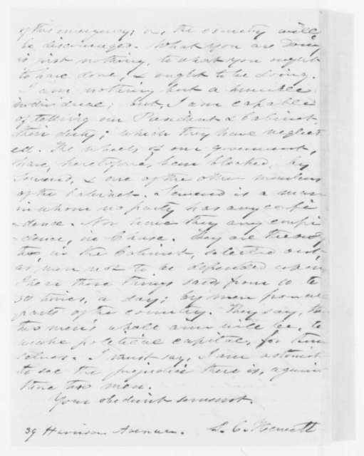 P. C. Heneett to Abraham Lincoln and Cabinet, Saturday, April 20, 1861  (Franklin Pierce and Caleb Cushing guilty of treason)