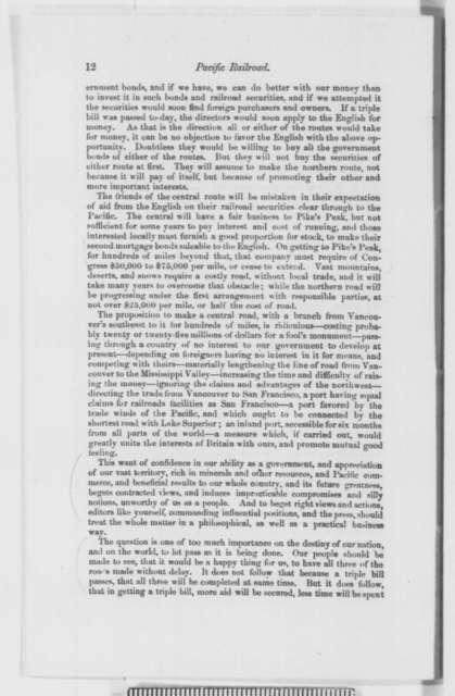 Pacific Railroad, Thursday, November 14, 1861  (Pamphlet)