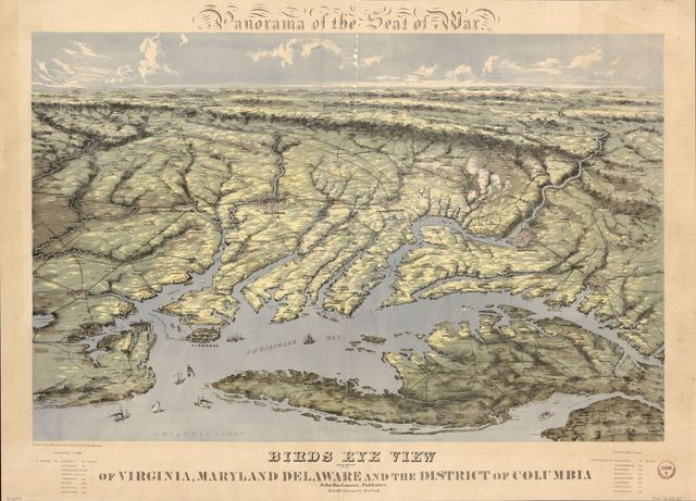 Panorama of the seat of war. Birds eye view of Virginia, Maryland, Delaware, and the District of Columbia /