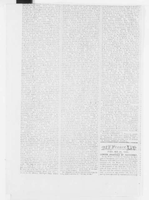 Paris France Galignani's Messengers (newspaper), Thursday, May 30, 1861  (Clippings)