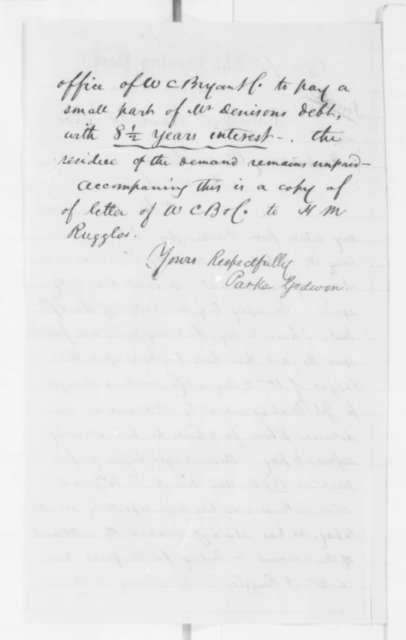Parke Godwin to Abraham Lincoln, Saturday, April 20, 1861  (Debt of George Denison)