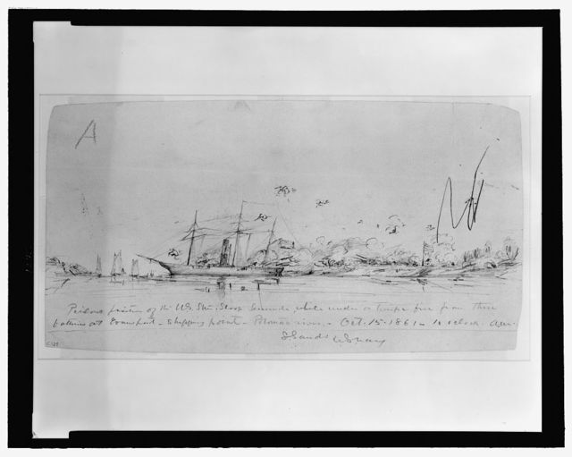 Perilous position of the U.S. Steam Sloop Seminole, while under a terrific fire from three batteries at Evansport shipping point, Potomac river, Oct. 15, 1861-10 oclock A.M.
