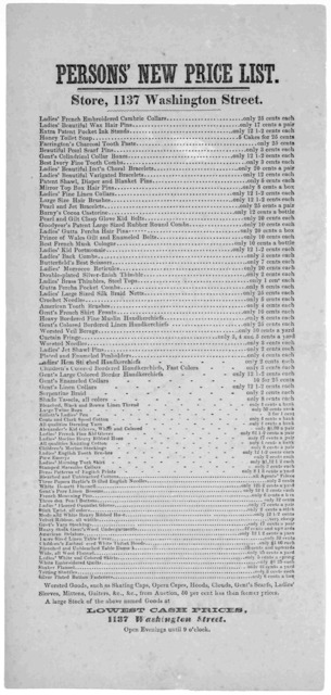 Persons' new price list. Store, 1137 Washington Street ... [1861].