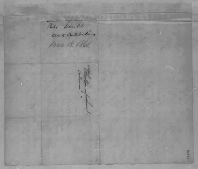 Philadelphia Union Volunteer Refreshment Committee to Abraham Lincoln, Wednesday, December 18, 1861  (Request Lincoln's support)