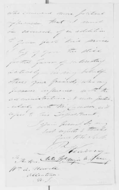 Philip Kearny to William A. Newell, Tuesday, June 18, 1861  (Appreciation)