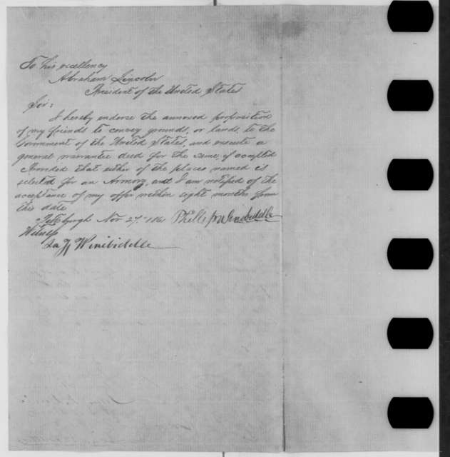 Pittsburgh Citizens to Abraham Lincoln, Tuesday, November 19, 1861  (Petition regarding location of new armory)