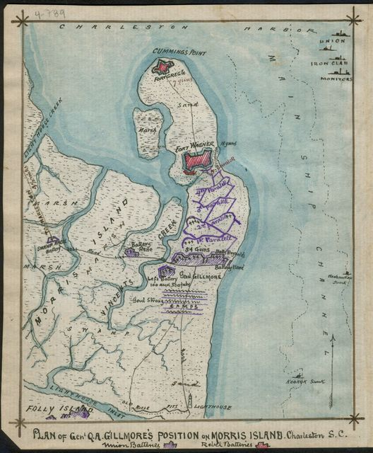 Plan of Genl Q. A. Gillmore's position on Morris Island, Charleston S.C.