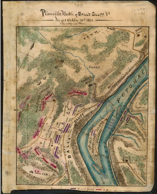 Plan of the Battle of Ball's Bluff Va. Fought October 21st 1861.
