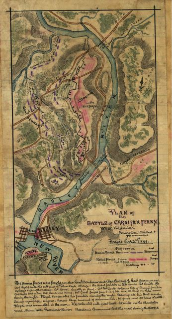 Plan of the Battle of Carnifex Ferry, West Virginia.