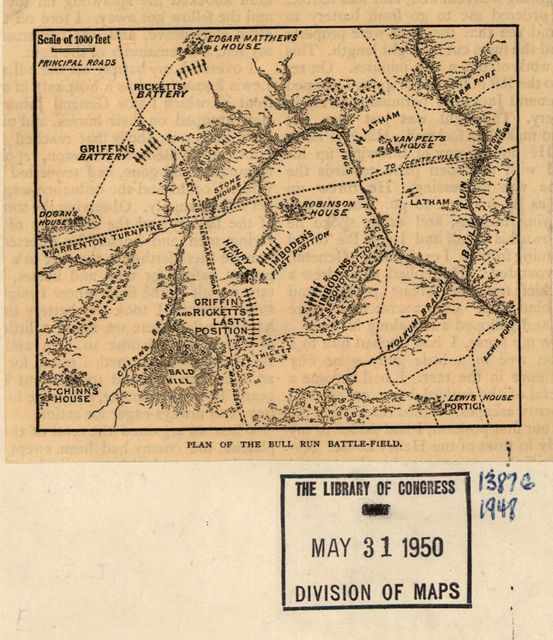 Plan of the Bull Run battle-field. [July 21, 1861].