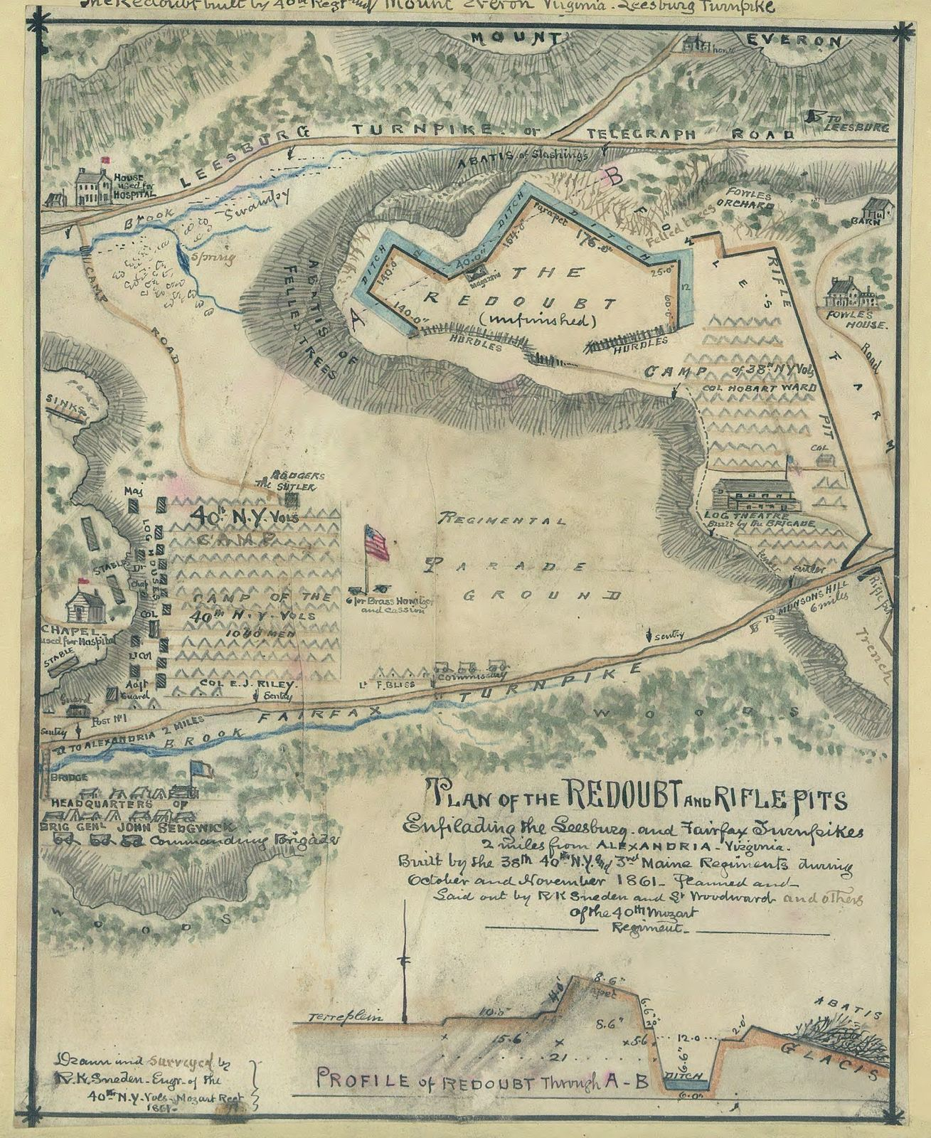 Plan of the redoubt and rifle pits ensilading [sic] the Leesburg and Fairfax turnpikes 2 miles from Alexandria, Virginia. Built by the 38th, 40th N.Y. and 3rd Maine regiments during October and November 1861.