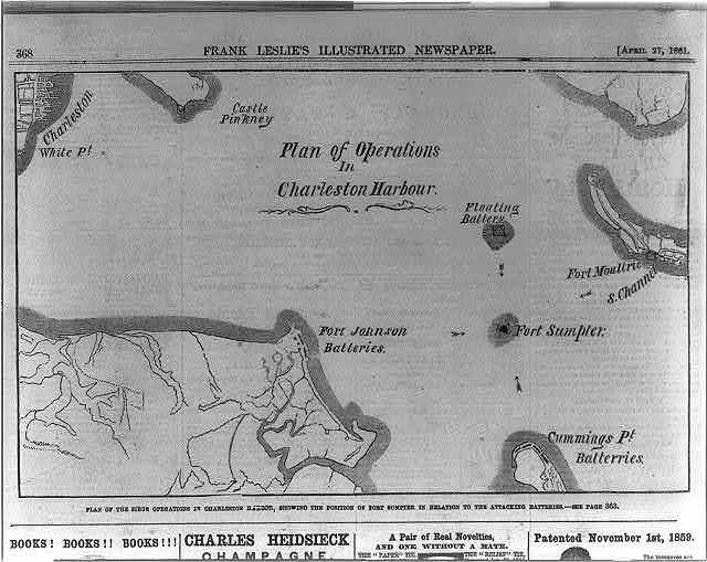 Plan of the siege operations on Charleston Harbor, showing the position of Fort Sumpter [sic] in relation to the attacking batteries
