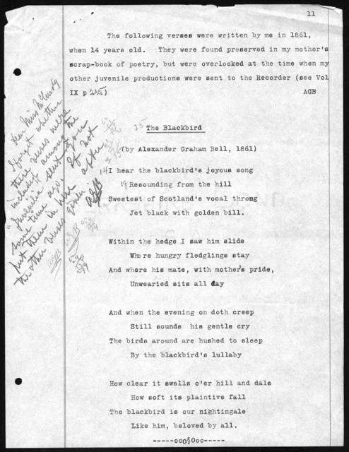 Poem by Alexander Graham Bell, 1861