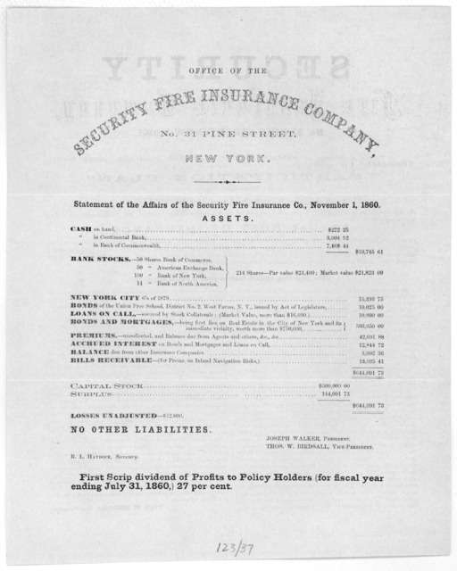 """... Policies of insurance on dwelling houses, household furniture, store houses, merchandise, etc. issued by the local agent of this company on the new """"participation plan"""" which experience has shown to be the safest and cheapest ... [New York,"""