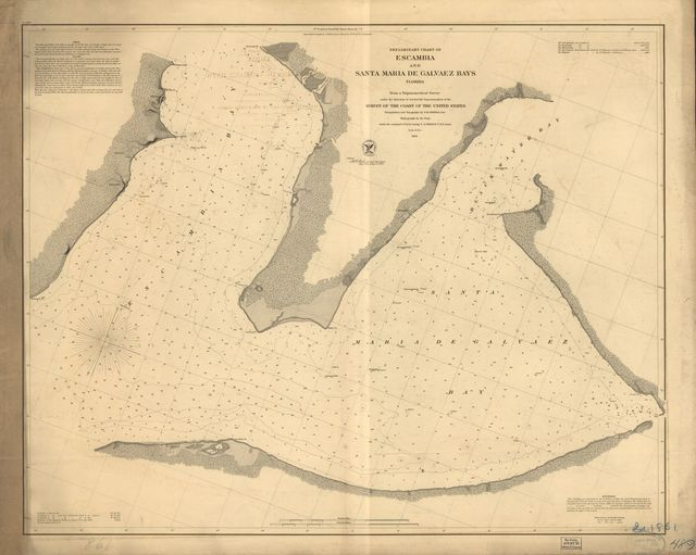 Preliminary chart of Escambia and Santa Maria de Galvaez [i.e., East] Bays, Florida