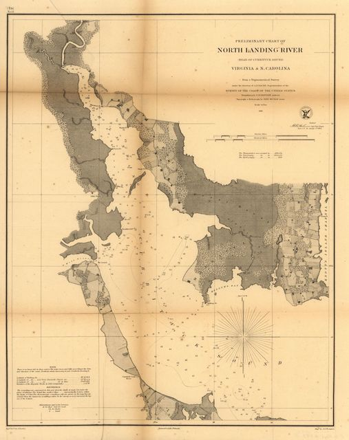 Preliminary chart of North Landing River (head of Currituck Sound), Virginia &  N. Carolina.