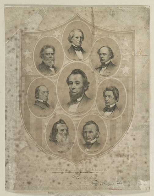 President Lincoln & cabinet / lith. of J.H. Bufford.