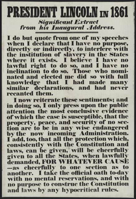 President Lincoln in 1861. Significant extract from his inaugural address.