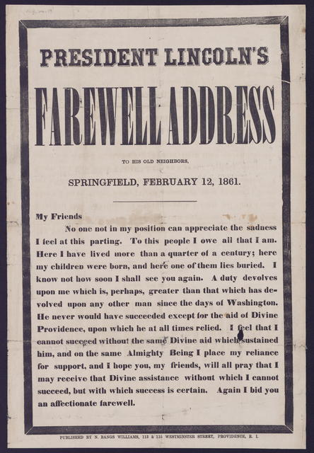 President Lincoln's farewell address to his old neighbors.