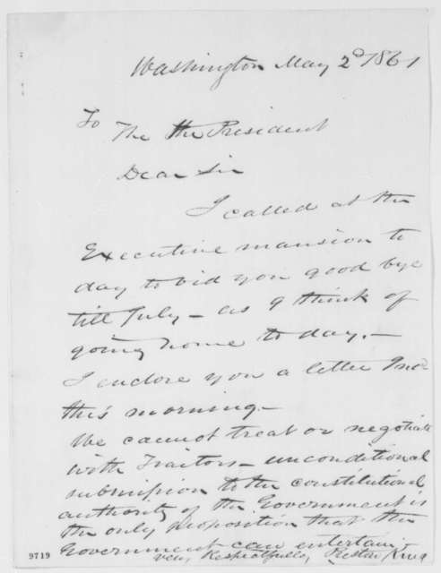 Preston King to Abraham Lincoln, Thursday, May 02, 1861  (Cover letter)