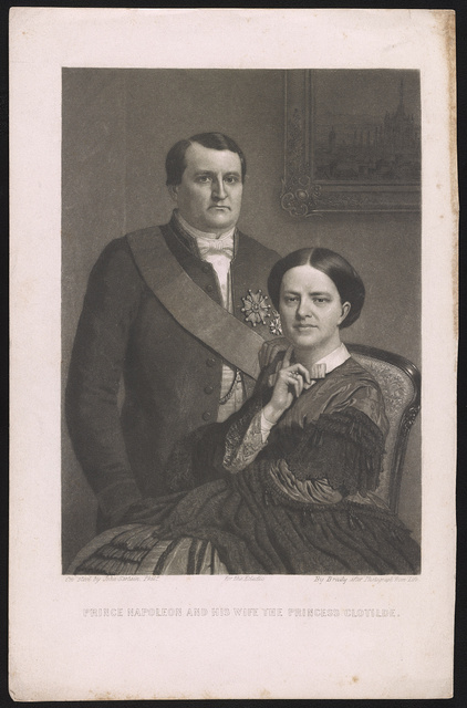 Prince Napoleon and his wife the Princess Clotilde / on steel by John Sartain, Phila., by Brady after photograph from life.
