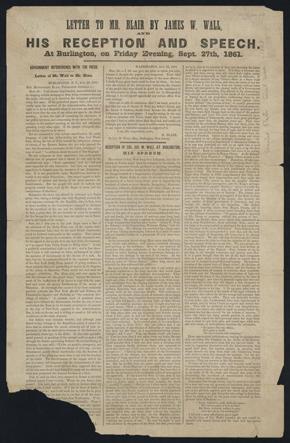 [Printed.] Letter to Mr. Blair by James W. Wall and his reception and speech at Burlington, on Friday evening, Sept. 27th, 1861.
