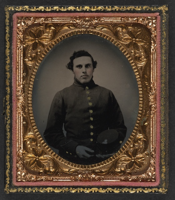[Private Abram M. Carhart of Company C, 177th New York Infantry Regiment with kepi]