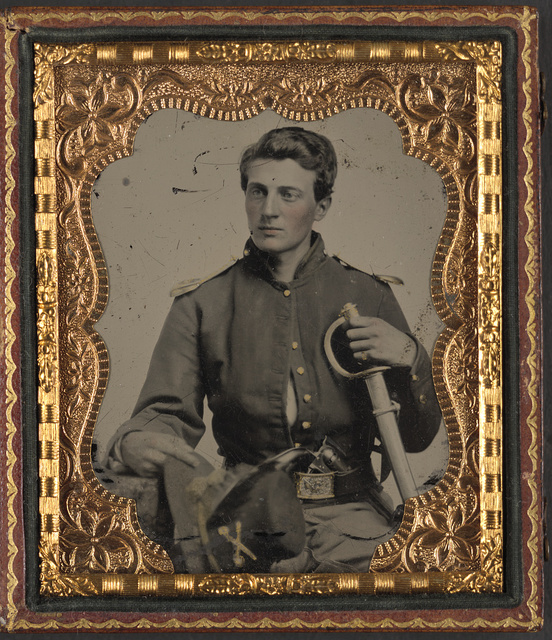 [Private George H. Hall of Kane County Illinois Cavalry Company and Co. H, 15th Illinois Cavalry Regiment with sword and handgun]