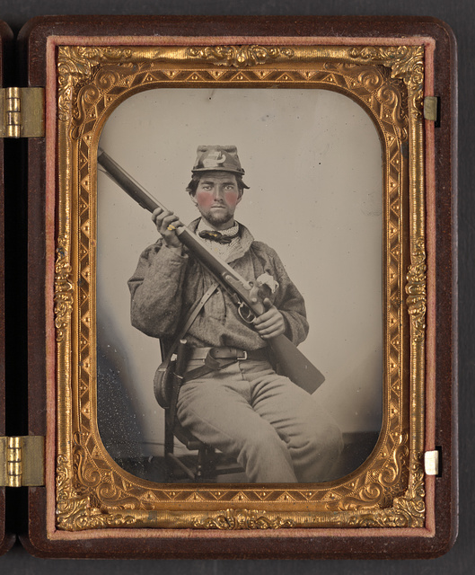 [Private George Hamilton Guinn of Co. A, 52nd Virginia Infantry Regiment, in uniform with musket, Bowie knive, and canteen]