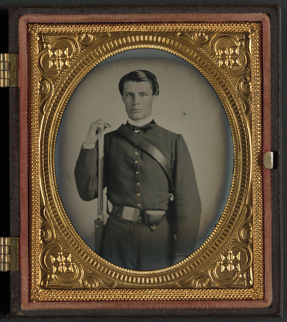 [Private J.P. Robertson of Co. I, 12th South Carolina Infantry Regiment, in uniform with musket]