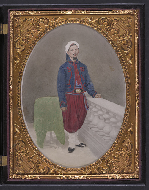 [Private Louis A. Matos of Co. C, 5th New York Infantry Regiment in Union Zouave uniform]