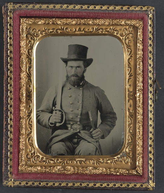 [Private Luther Hart Clapp of Company C, 37th Virginia Infantry Regiment, in uniform and two-piece Virginia state seal buckle with Boyle and Gamble sword]