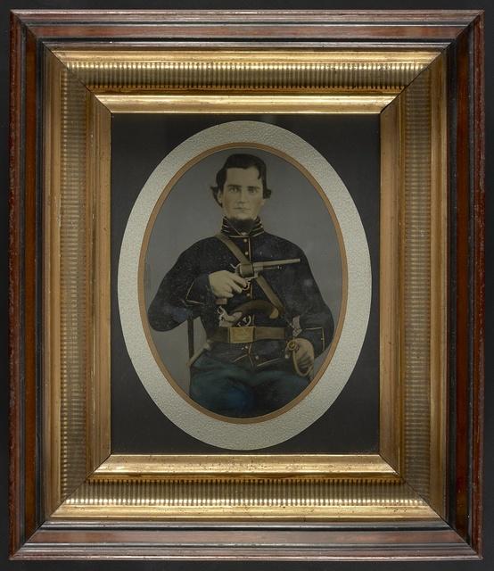 [Private Silas York of Co. F, 5th Illinois Cavalry Regiment, with single shot percussion pistol, Lefaucheux revolver, and sword]