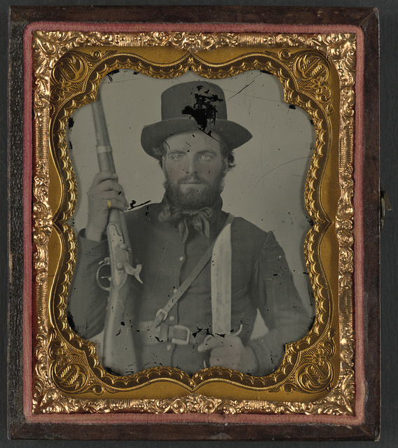 [Private Stanford Lea Jessee of Co. A, 29th Virginia Infantry Regiment in uniform with rifle and Bowie knife]