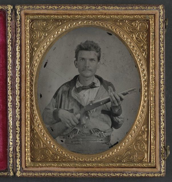 [Private Stephen Pollard of Co. B and Co. L, 7th Confederate States Cavalry Battalion, in uniform with 1855 Springfield pistol carbine and pistols]