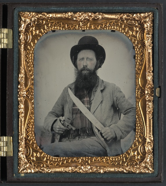 [Private Thomas F. Bates of D Company, 6th Texas Infantry Regiment, with D guard Bowie knife and John Walch pocket revolver]