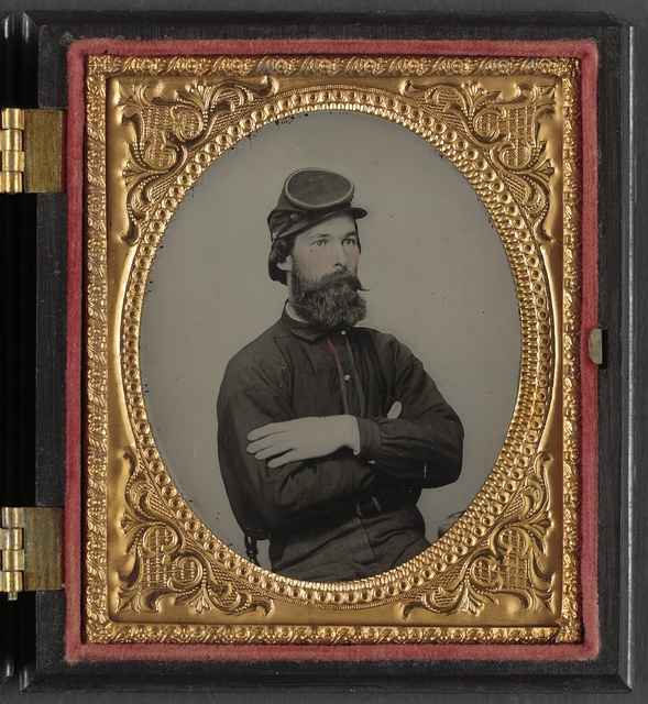 [Private Tomley(?) Lumpkin of 34th Virginia Infantry Regiment, in uniform]