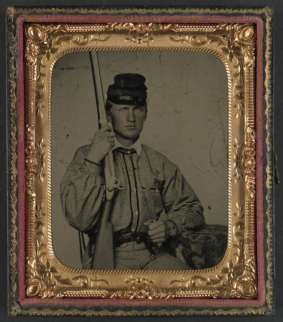[Private William Baxter Ott of Co. I, 4th Virginia Infantry Regiment, in uniform with musket]