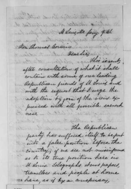 R. L. Hurt to Thomas Corwin, Wednesday, January 09, 1861  (Compromise with South)