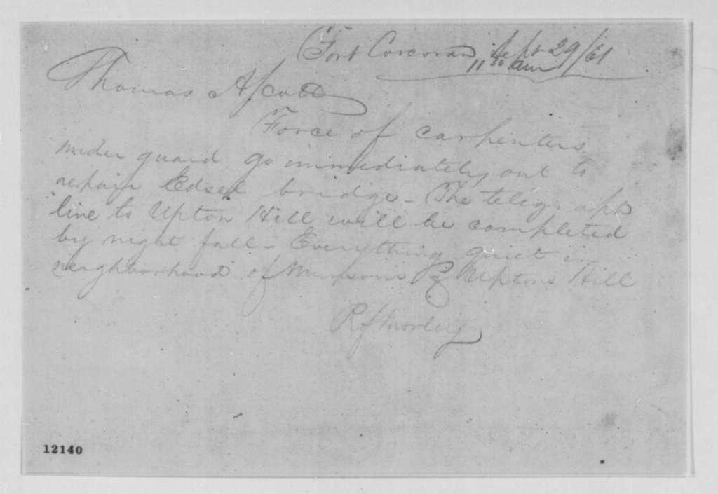 R. Morley to Thomas A. Scott, Sunday, September 29, 1861  (Military affairs)
