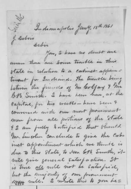 R. N. Hudson to Jesse K. Dubois, Friday, January 18, 1861  (Recommends Caleb Smith for cabinet)
