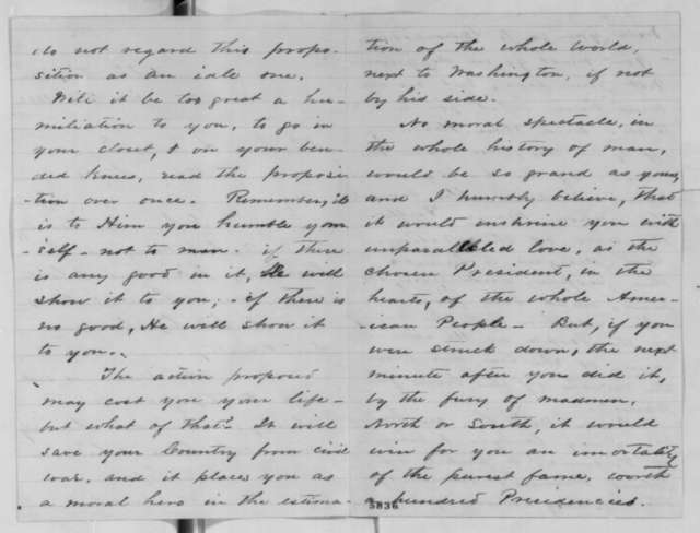 R. O. Whitehead to Abraham Lincoln, Sunday, January 06, 1861  (Virginian suggests Lincoln travel to South Carolina and resign the presidency there)